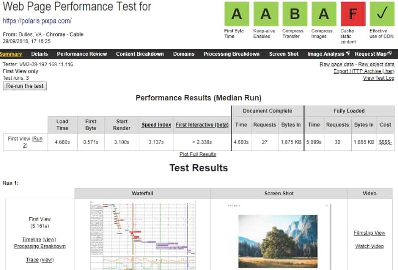 Pixpa website & template performance