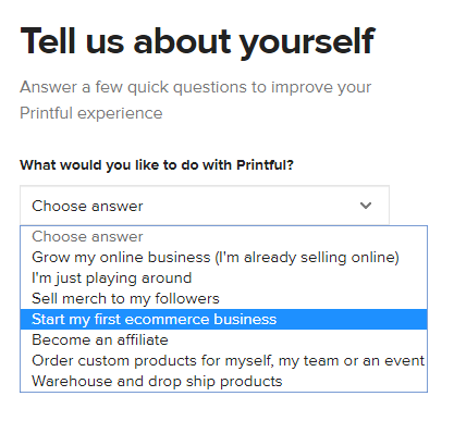 Select start my first eCommerce business