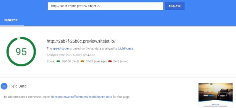 SiteJet website speed test