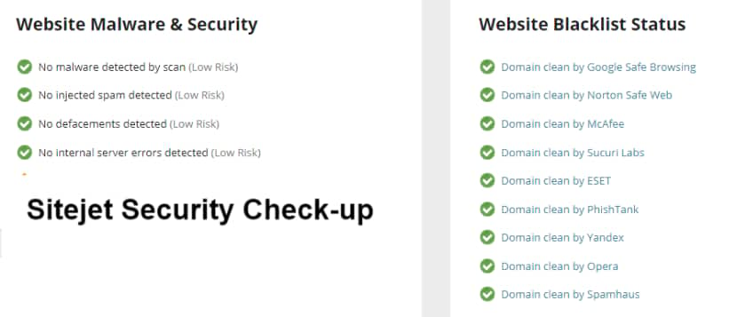 Sitejet Security check up