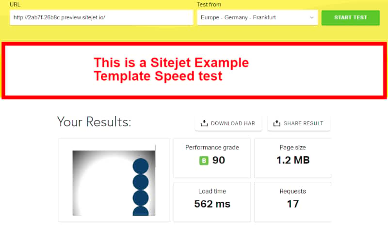 Sitejet example template speed test