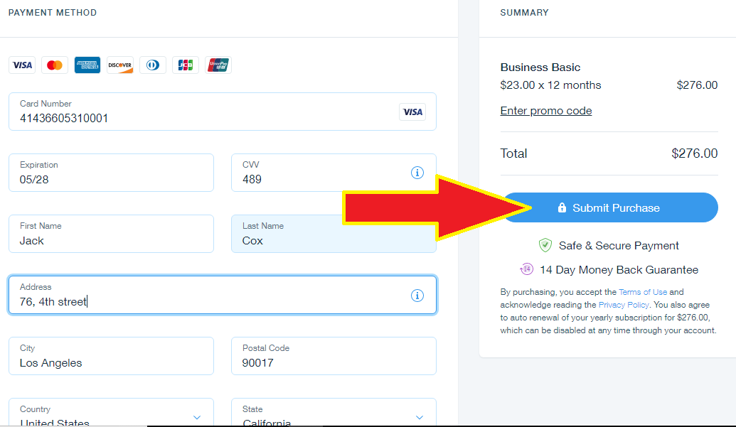 Submit payment for your Wix eCommerce yearly plan