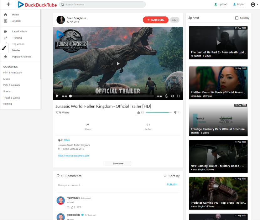 The look and features similar to YouTube