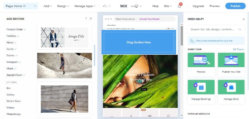 Wix Website builder editor in ADI mode