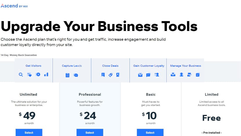 Wix business pricing & plans