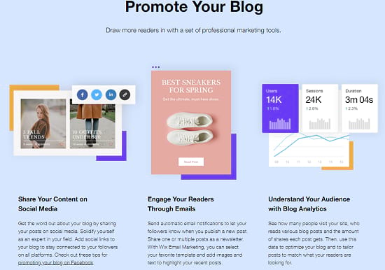Wix blog Promotion features