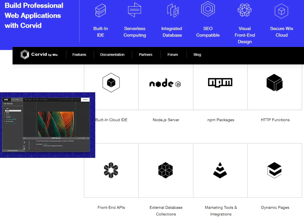 Wix corvid rapid web development platform