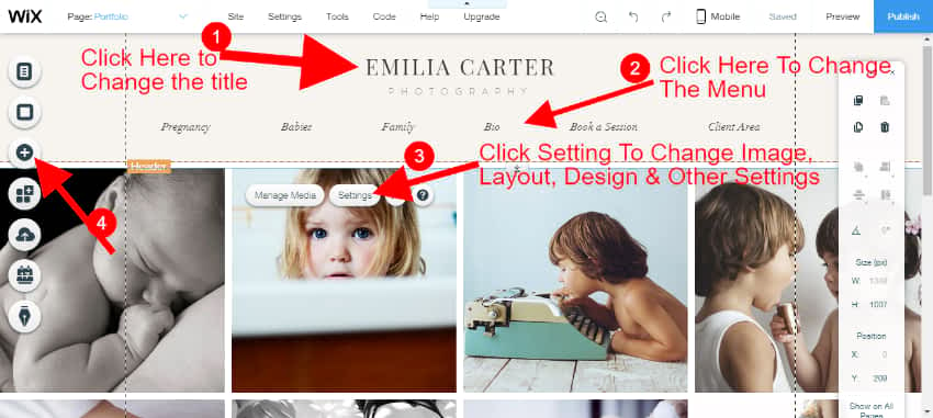Wix photography site editor
