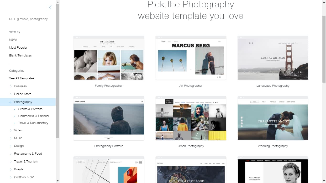 Wix photography templates or templates or ready made sites