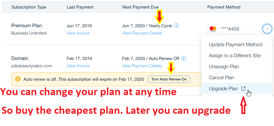 Wix pricing and plan change setting. You can upgrade the plan at any time