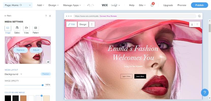 Wix website builder editor block based