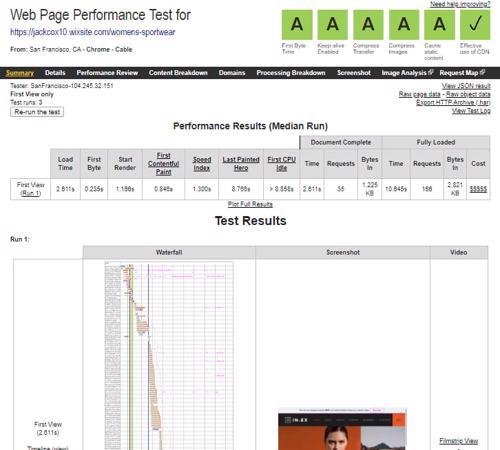 Wix website speed test