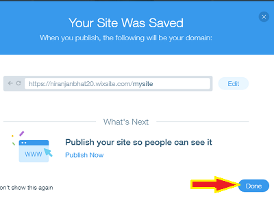 Click done to save your website