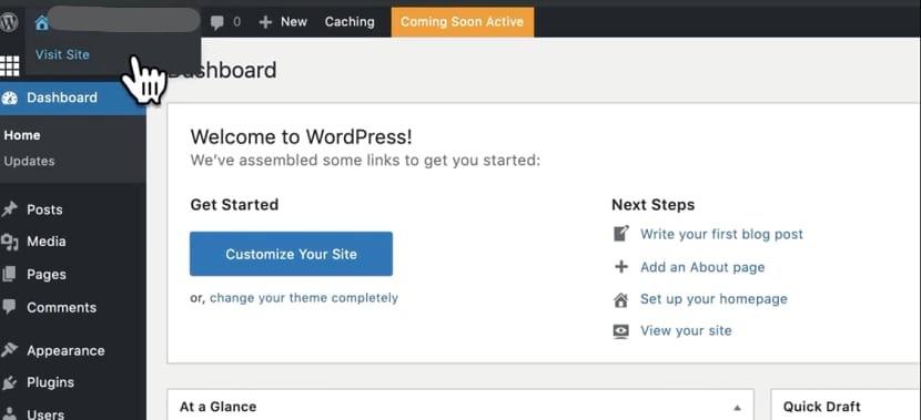 Your wordpress dashboard setup