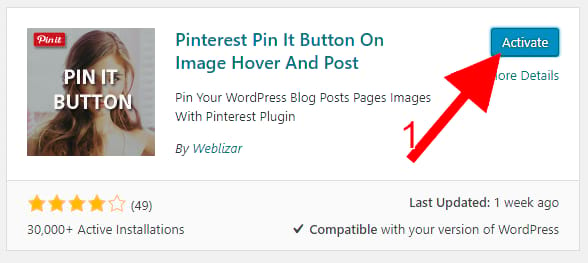 activate Pinterest Pin button For Images Plugins
