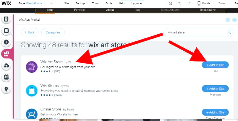 add Wix art store
