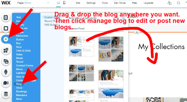 add Wix blog to page