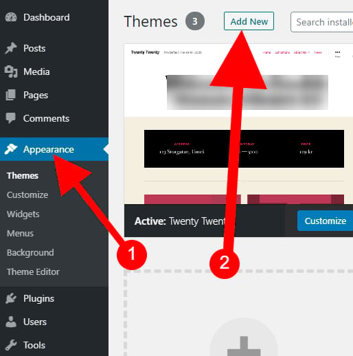 go to appearance & click add theme