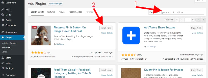 add Pinterest pin button plugin for your images