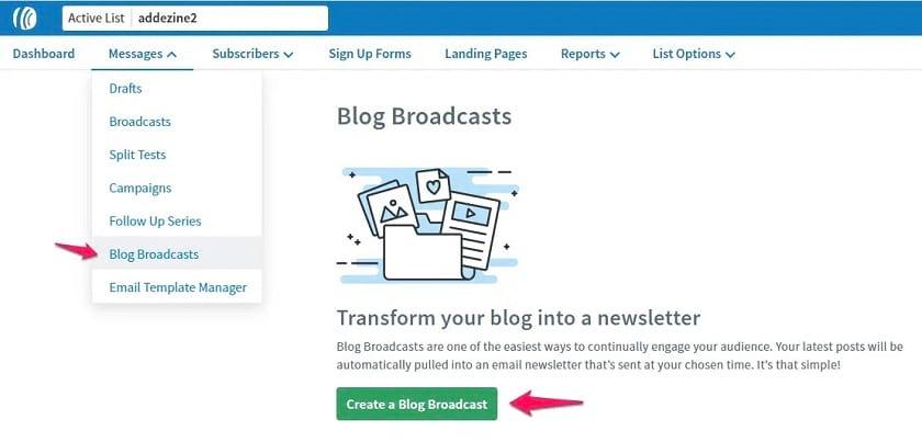 Aweber RSS feed screen shot