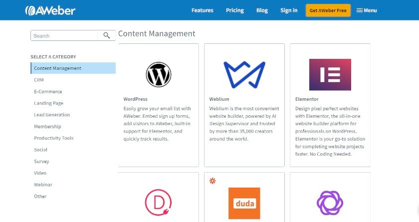 Aweber Integration Screenshot