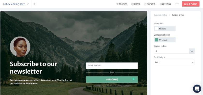 Convertkit Landing Page editor