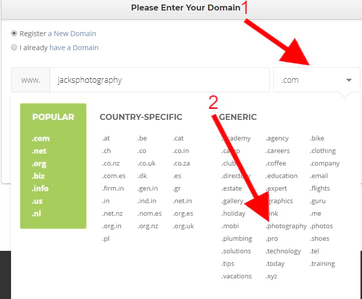 different top level domains for your photography website