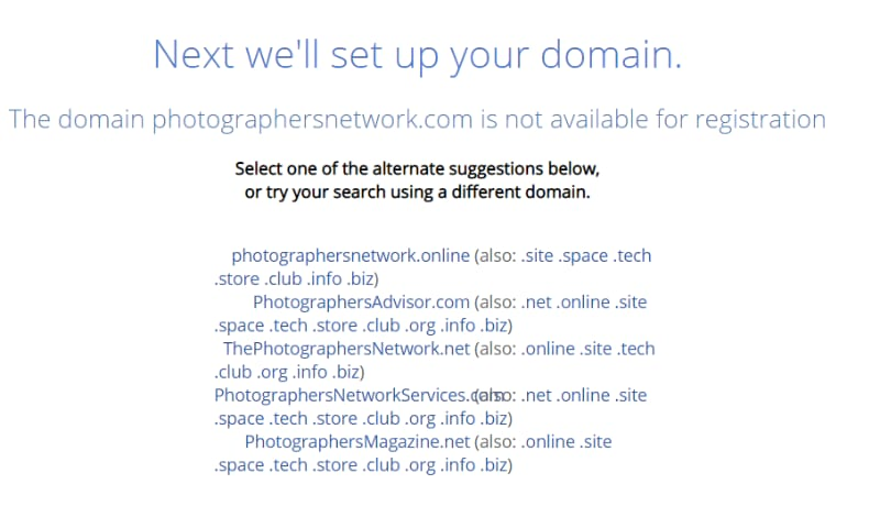 domain name is not available