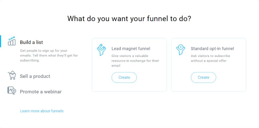 Getresponse funnel selector