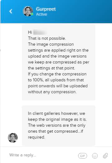how Image compression and client galleries setting works in Pixpa