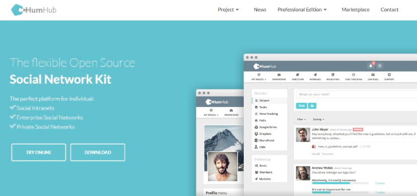 HumHub Screenshot