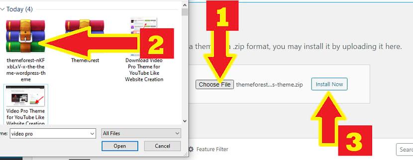 install video pro wordpres youtube like theme