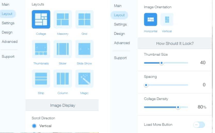 image layout settings