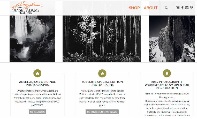 photographer Ansel Adams website home page
