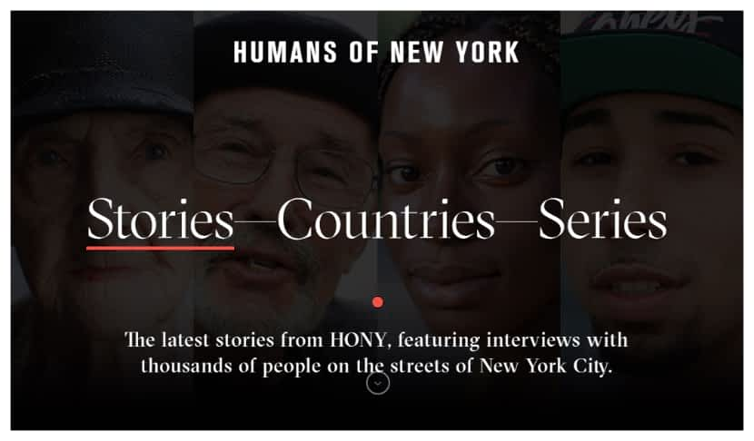 photography website example humans of newyork by Brandon Stanton