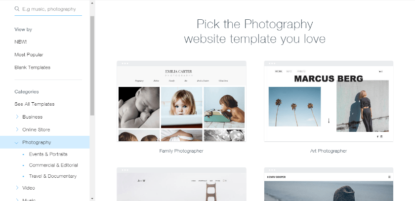 pick a photography template