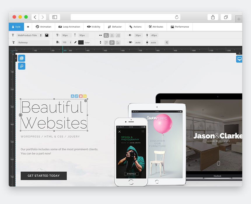content area slider website builder