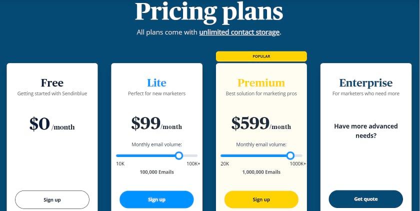 Sendinblue Pricing structure