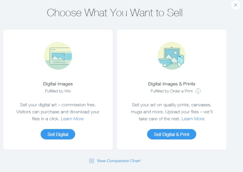 sell digital and physical prints from your photography website