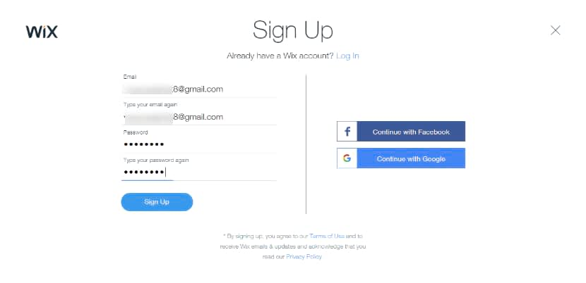 sign up on Wix photography