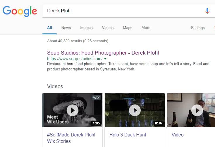 soup studios photography website on Google