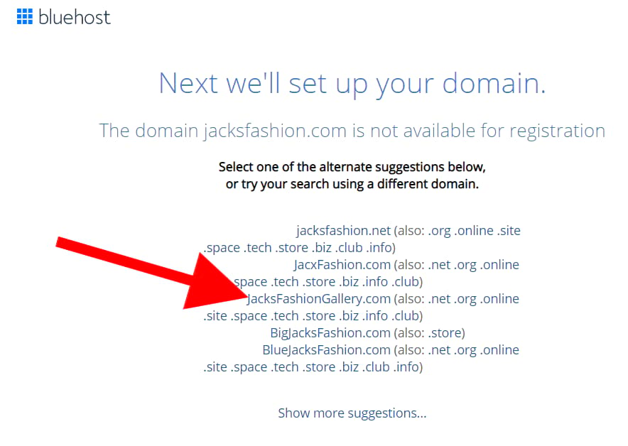 unavailable domain name