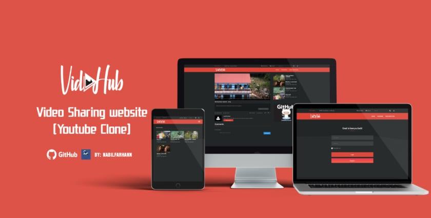 Vidhub youtube clone screenshot